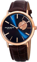 Akribos XXIV Element Mens Rose-Tone and Brown Leather Strap Watch