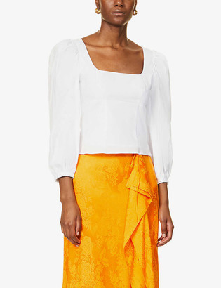 STAUD Puffed sleeve cotton-poplin top