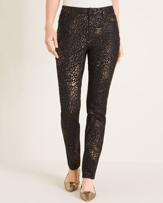 Chico's Coated Animal-Print Fly-Front Jeggings