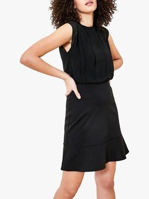 Oasis Ponte Chiffon Dress, Black