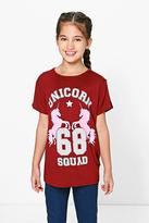 Boohoo Girls Oversized Unicorn Tee