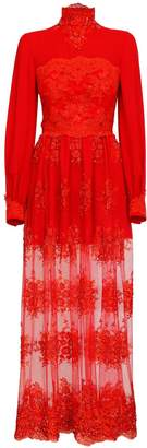 Jiri Kalfar Red Silk Chiffon Dress With Embroidery