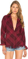Maison Scotch Boxy Plaid Top in Red