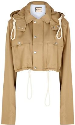 Plan C Camel cropped twill jacket