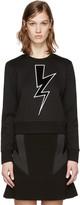 Neil Barrett Black Cropped Thunderbolt Pullover
