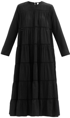Merlette New York Maida Tiered Cotton And Silk-blend Midi Dress - Black