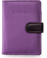 Visconti Lilac Side-Tab Leather Passport Wallet