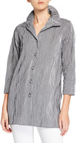 Caroline Rose Button-Front Crinkled Gingham Shirt with Ruched Collar