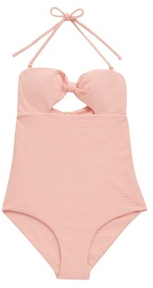Cossie + Co - The Chazzy Knotted Honeycomb-effect Swimsuit - Pink