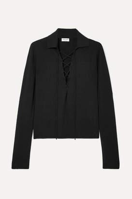 Saint Laurent Lace-up Cashmere And Silk-blend Top - Black