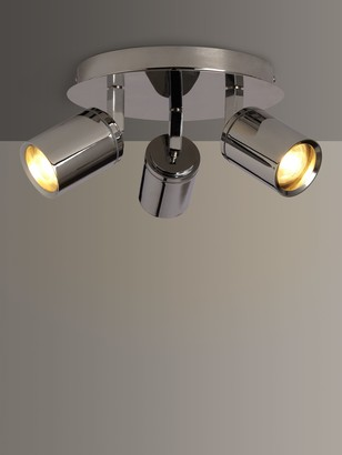 John Lewis & Partners Andora LED 3 Arm Bathroom Ceiling Plate, Chrome