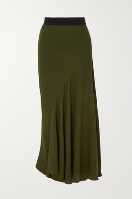 Haider Ackermann Asymmetric Pleated Crepe Midi Skirt - Dark green