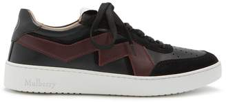 Mulberry Jumping Lace-up Sneaker Black and Crimson Smooth Calf