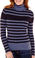 Liz Claiborne Long-Sleeve Ribbed Knit Turtleneck Sweater - Tall