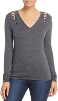Elie Tahari Decker Lace-Up Sweater
