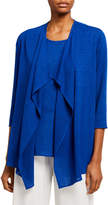 Caroline Rose Petite Gauze Knit Draped Open-Front Cardigan