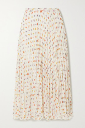 See by Chloe Ruffled Lace-trimmed Pleated Floral-print Voile Midi Skirt - White