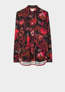 Paul Smith Women's Red 'Beetle Botanical' Print Shirt