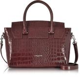 Lancaster Paris Burgundy Croco Embossed Leather Satchel Bag