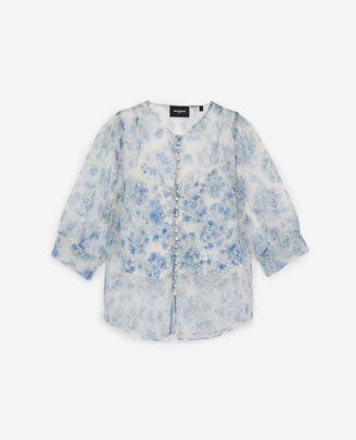 The Kooples See-through fitted floral top with buttons