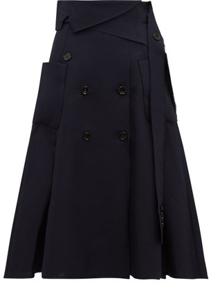 Golden Goose Makiko Buttoned Twill Midi Skirt - Womens - Navy