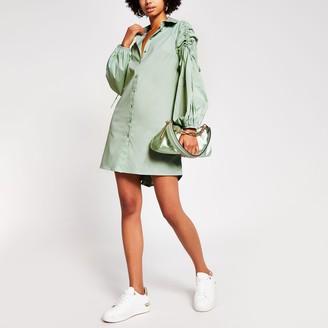 River Island Womens Green ruched sleeve mini shirt dress