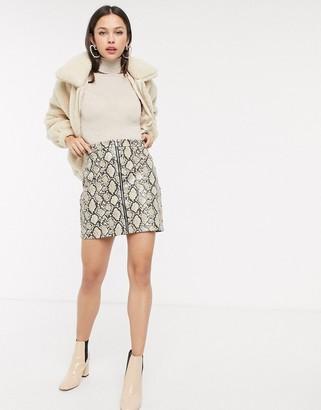 New Look vinyl snake zip mini skirt in brown pattern