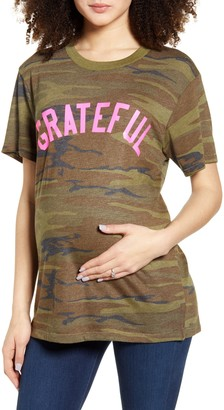 Bun Maternity Grateful Camo Maternity Graphic Tee