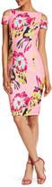 Tahari Floral Print Cold Shoulder Sheath Dress