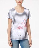 Karen Scott Striped Flamingo-Print Top, Created for Macy's