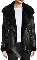 Acne Studios Velocite Shearling Fur-Lined Moto Jacket