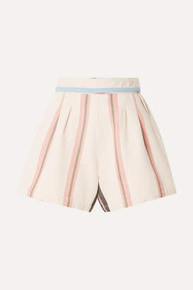 Apiece Apart Maren Striped Cotton-canvas Shorts - Cream