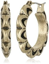 Lucky Brand Gold Floral Hoop Earrings
