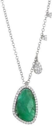 Meira T 14K White Gold, Diamond & Emerald Pendant Necklace