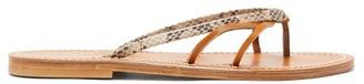 K. Jacques Metelis Python-embossed Leather Slides - Tan