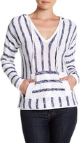 Michael Stars V-Neck Stripe Hooded Long Sleeve Sweateshirt
