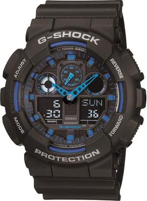 Casio Men's G XL Series Quartz Watch Strap WR Shock Resistant Resin Color: Black and Blue (Model: GA-100-1A2CR)