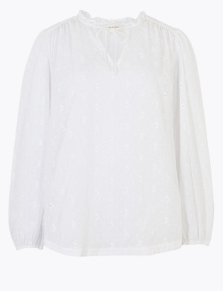 Marks and Spencer Pure Cotton Embroidered Tie Front Blouse