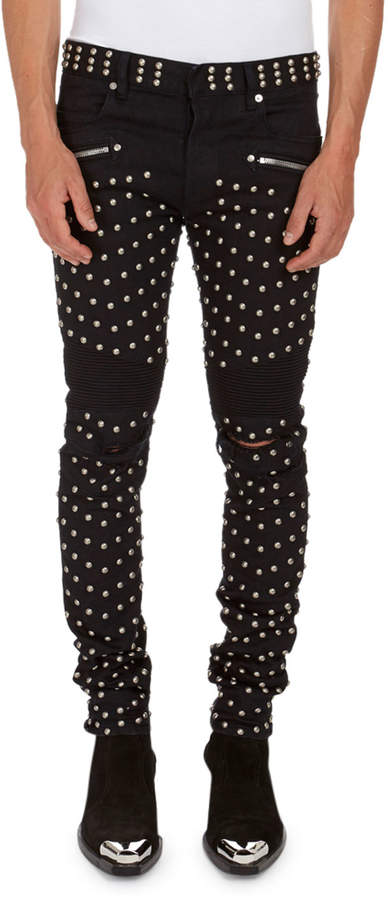 Balmain Allover-Studded Stretch-Cotton Skinny Jeans