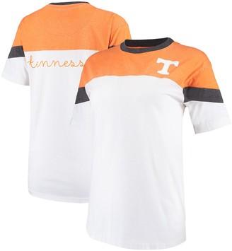 Women's Pressbox Tennessee Orange/White Tennessee Volunteers Blossom Colorblocked T-Shirt