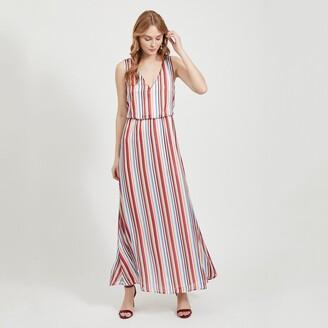 Vila Striped Sleeveless Maxi Dress