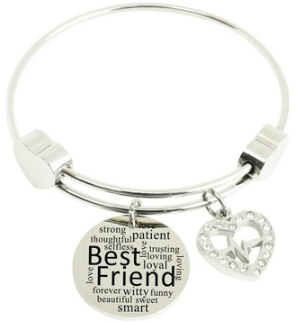 Expandable Hearts Inspirational Bangle with Cubic Zirconia by Pink Box Best Friend Silver