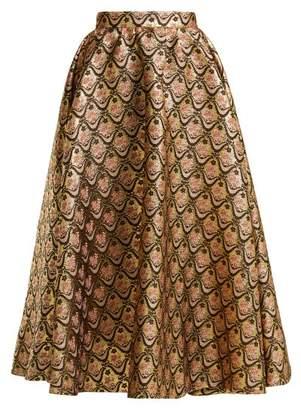 Rochas Floral-brocade Midi Skirt - Womens - Gold Multi