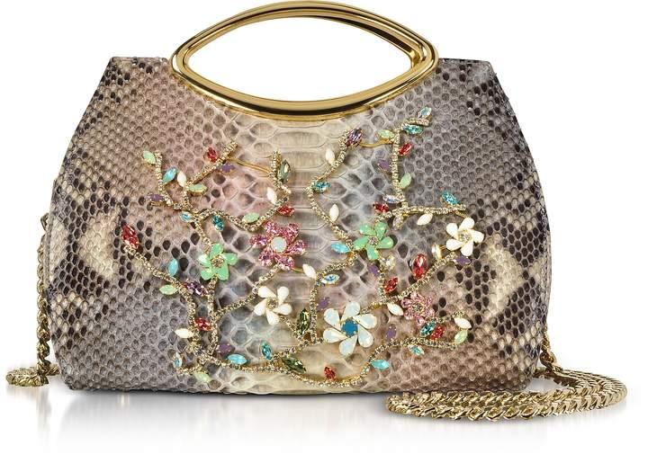 Ghibli Beige Python Leather Satchel Bag w/Crystals
