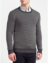 Gant Nordic Patterned Crew Neck Jumper, Anthracite Melange