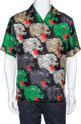 Gucci Multicolor Panther Face Print Silk Bowling Shirt S