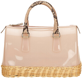 Furla Pink Glossy Rubber/Straw Candy Satchel Bag