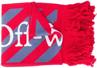 Off-White Logo Embroidered Scarf