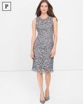 White House Black Market Petite Silver Tonal Lace Sheath Dress