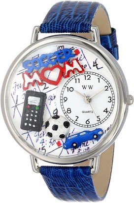 Whimsical Watches Soccer Mom Royal Blue Leather and Silvertone Unisex Quartz Watch with White Dial Analogue Display and Multicolour Leather Strap U-1010012